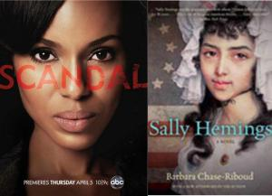 olivia pope of abc's scandal, created by shonda rhimes and an artist's rendering of sally hemings for barbara chase-riboud's novel