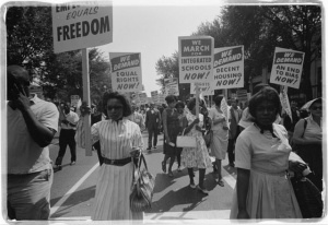 women marching for jobs and freedom