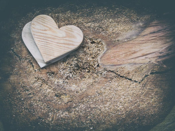 Two wooden hearts on a cut timber background.